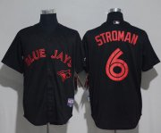 Wholesale Cheap Blue Jays #6 Marcus Stroman Black Strip Stitched MLB Jersey