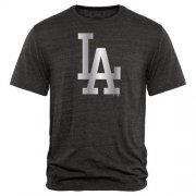 Wholesale Cheap Los Angeles Dodgers Fanatics Apparel Platinum Collection Tri-Blend T-Shirt Black
