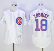 Wholesale Cubs #18 Ben Zobrist White Flexbase Authentic Collection with 100 Years at Wrigley Field Commemorative Patch Stitched Baseball Jersey