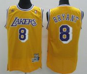 Wholesale Cheap Los Angeles Lakers #8 Kobe Bryant Yellow Swingman Throwback Jersey