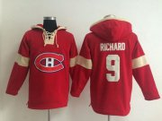 Wholesale Cheap Montreal Canadiens #9 Maurice Richard Red Pullover NHL Hoodie