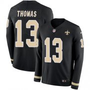 Wholesale Cheap Nike Saints #13 Michael Thomas Black Team Color Youth Stitched NFL Limited Therma Long Sleeve Jersey