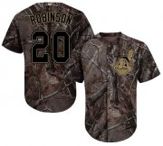 Wholesale Cheap Indians #20 Eddie Robinson Camo Realtree Collection Cool Base Stitched MLB Jersey