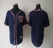 Wholesale Nationals Blank Navy Blue Cool Base Stitched Baseball Jersey