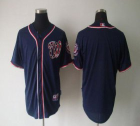 Wholesale Cheap Nationals Blank Navy Blue Cool Base Stitched MLB Jersey