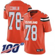 Wholesale Cheap Nike Browns #78 Jack Conklin Orange Alternate Men's Stitched NFL 100th Season Vapor Untouchable Limited Jersey
