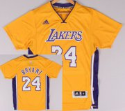 Wholesale Cheap Los Angeles Lakers #24 Kobe Bryant Revolution 30 Swingman 2014 New Yellow Short-Sleeved Jersey