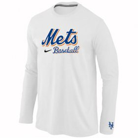 Wholesale Cheap New York Mets Long Sleeve MLB T-Shirt White