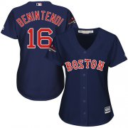 Wholesale Cheap Red Sox #16 Andrew Benintendi Navy Blue Alternate 2018 World Series Champions Women's Stitched MLB Jersey