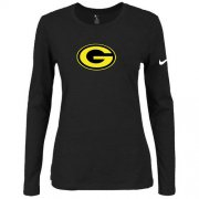 Wholesale Cheap Women's Nike Green Bay Packers Of The City Long Sleeve Tri-Blend NFL T-Shirt Black-2