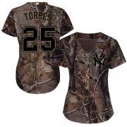 Wholesale Cheap Yankees #25 Gleyber Torres Camo Realtree Collection Cool Base Women's Stitched MLB Jersey