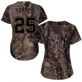 Wholesale Cheap Yankees #25 Gleyber Torres Camo Realtree Collection Cool Base Women\'s Stitched MLB Jersey