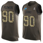 Wholesale Cheap Nike Lions #90 Trey Flowers Green Men's Stitched NFL Limited Salute To Service Tank Top Jersey