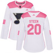 Wholesale Cheap Adidas Blues #20 Alexander Steen White/Pink Authentic Fashion Women's Stitched NHL Jersey