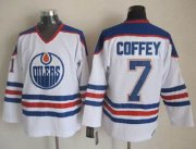 Wholesale Cheap Oilers #7 Paul Coffey White CCM Throwback Stitched NHL Jersey