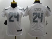 Wholesale Cheap Nike Seahawks #24 Marshawn Lynch White Women's Stitched NFL Limited Platinum Jersey