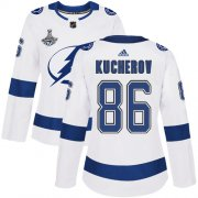 Cheap Adidas Lightning #86 Nikita Kucherov White Road Authentic Women's 2020 Stanley Cup Champions Stitched NHL Jersey