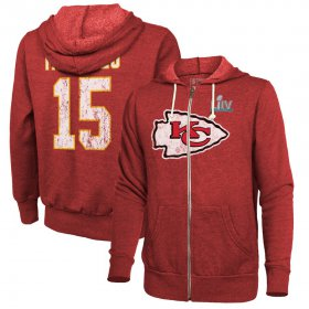Wholesale Cheap Men\'s Kansas City Chiefs #15 Patrick Mahomes NFL Red Super Bowl LIV Bound Player Name & Number Full-Zip Hoodie