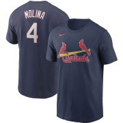 Wholesale Cheap St. Louis Cardinals #4 Yadier Molina Nike Name & Number T-Shirt Navy
