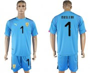 Wholesale Cheap Uruguay #1 Muslera Blue Goalkeeper Soccer Country Jersey