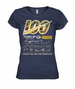 Wholesale Cheap Green Bay Packers 100 Seasons Memories Women's T-Shirt Navy