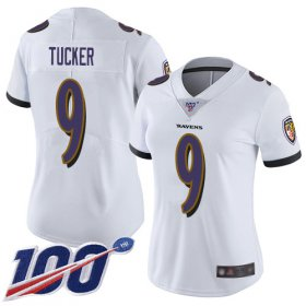Wholesale Cheap Nike Ravens #9 Justin Tucker White Women\'s Stitched NFL 100th Season Vapor Limited Jersey