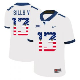 Wholesale Cheap West Virginia Mountaineers 13 David Sills V White USA Flag College Football Jersey