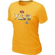 Wholesale Cheap Women's San Francisco 49ers Super Bowl XLVII On Our Way T-Shirt Yellow