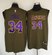 Wholesale Cheap Los Angeles Lakers #34 Shaquille O'Neal Olive Nike Swingman Jersey