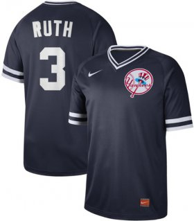 Wholesale Cheap Nike Yankees #3 Babe Ruth Navy Authentic Cooperstown Collection Stitched MLB Jersey