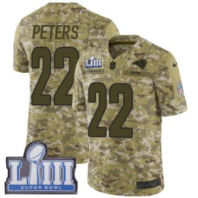 Wholesale Cheap Nike Rams #22 Marcus Peters Camo Super Bowl LIII Bound Youth Stitched NFL Limited 2018 Salute to Service Jersey