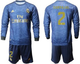 Wholesale Cheap Real Madrid #2 Carvajal Away Long Sleeves Soccer Club Jersey