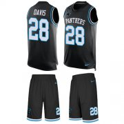 Wholesale Cheap Nike Panthers #28 Mike Davis Black Team Color Men's Stitched NFL Limited Tank Top Suit Jersey