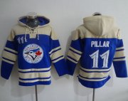 Wholesale Cheap Blue Jays #11 Kevin Pillar Blue Sawyer Hooded Sweatshirt MLB Hoodie