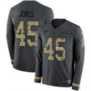 Wholesale Cheap Nike Falcons #45 Deion Jones Anthracite Salute to Service Men's Stitched NFL Limited Therma Long Sleeve Jersey