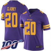 Wholesale Cheap Nike Vikings #20 Jeff Gladney Purple Men's Stitched NFL Limited Rush 100th Season Jersey