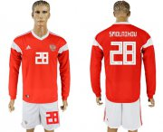 Wholesale Cheap Russia #28 Smolnikov Red Home Long Sleeves Soccer Country Jersey