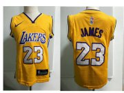 Cheap Los Angeles Lakers #23 LeBron James Yellow Toddlers Jersey