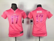 Wholesale Cheap Nike Chargers #17 Philip Rivers Pink Sweetheart Women's Stitched NFL Elite Jersey