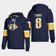 Wholesale Cheap Nashville Predators #8 Kyle Turris Navy adidas Lace-Up Pullover Hoodie