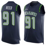 Wholesale Cheap Nike Seahawks #91 Jarran Reed Steel Blue Team Color Men's Stitched NFL Limited Tank Top Jersey