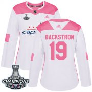 Wholesale Cheap Adidas Capitals #19 Nicklas Backstrom White/Pink Authentic Fashion Stanley Cup Final Champions Women's Stitched NHL Jersey