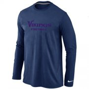 Wholesale Cheap Nike Minnesota Vikings Authentic Font Long Sleeve T-Shirt Dark Blue