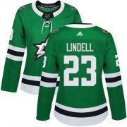 Cheap Adidas Stars #23 Esa Lindell Green Home Authentic Women's Stitched NHL Jersey
