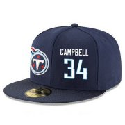 Wholesale Cheap Tennessee Titans #34 Earl Campbell Snapback Cap NFL Player Navy Blue with White Number Stitched Ha