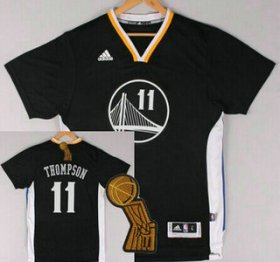 Wholesale Cheap Golden State Warriors #11 Klay Thompson Revolution 30 Swingman 2014 New Black Short-Sleeved Jersey With 2015 Finals Champions Patch