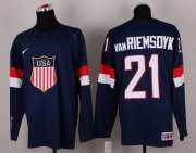 Wholesale Cheap 2014 Olympic Team USA #21 James van Riemsdyk Navy Blue Stitched NHL Jersey