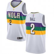 Wholesale Cheap Pelicans #2 Lonzo Ball White Basketball Swingman City Edition 2018-19 Jersey