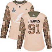 Cheap Adidas Lightning #91 Steven Stamkos Camo Authentic 2017 Veterans Day Women's 2020 Stanley Cup Champions Stitched NHL Jersey