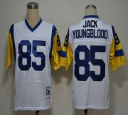 Wholesale Cheap Mitchell And Ness Rams #85 Jack Youngblood White Stitched NFL Jersey